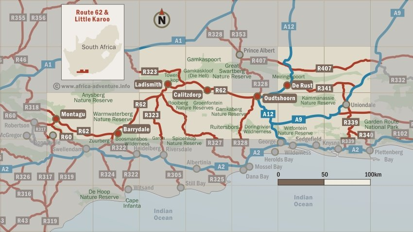 Map Of Route 62 South Africa.Route 62 Little Karoo