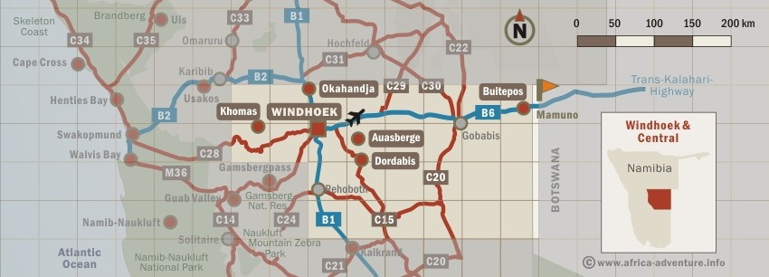 Map of Windhoek & Central