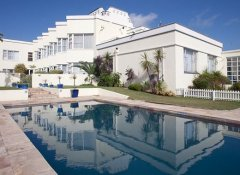 Hotel and pool at The Beach Hotel in Port Elizabeth